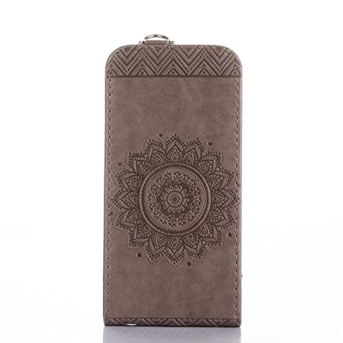 JAWSEU Coque Etui pour iPhone 5/5S/SE,iPhone SE Leather Case with Strap,iPhone 5S Etui en Cuir Folio Flip Wallet Cover Case,2017 Neuf Style Femme Homme Up and Down Unlock Holster Rabat Portefeuille ét gris