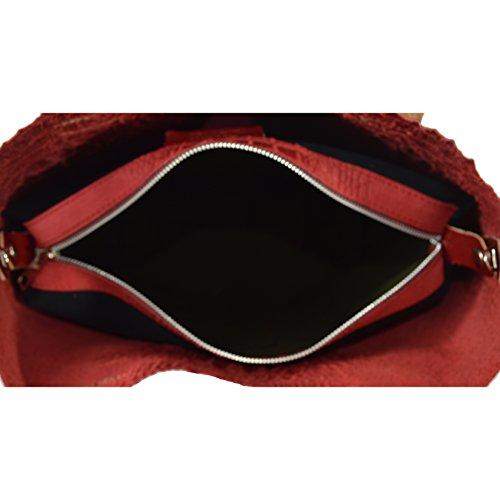 CTM Borsa a mano da donna in vera pelle stampa Animalier made in Italy con tracolla e sacca estraibile interna D90071 - 44x30x13 Cm Rosso