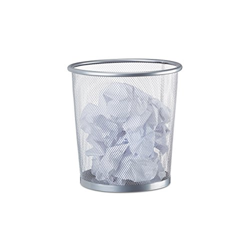Relaxdays 10022505_55 cestino gettacarte in metallo rete pattumiera carta portarifiuti da tavolo Ø 23 cm alto 24 cm argento