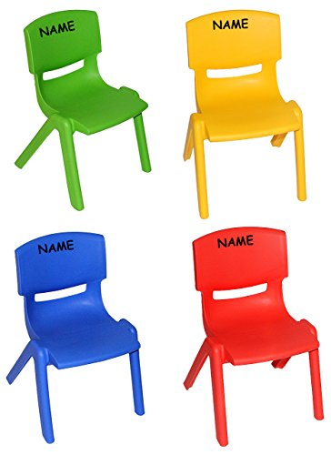 4 tlg. Set: Kinderstühle - BLAU + ROT + GELB + GRÜN - incl. Namen - bis 100 kg belastbar / stapelbar / kippsicher - für AUßEN & INNEN - Plastik / Kunststoff - Kindermöbel für Mädchen & Jungen - Kinderzimmer / Plastikstuhl - Kinder / Stuhl Stühle - Gartenmöbel Kinderstuhl - Tischgruppe