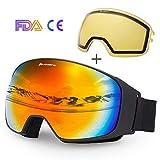 Avoalre Lunettes de Ski Masques Protection Adulte Masque de Ski Femme et Homme Masque...