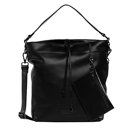 tragwert. Bolso de mano bucket bag JULIA en negro - Bolso de mujer bandolera bolso de hombro en cuero vegano