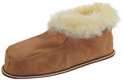 Hüttenhausschuh aus echtem Lammfell mit Ledersohle, Farben:beige;Schuhgröße:47