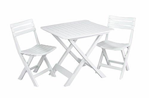 3-teiliges Kunststoff Gartenmöbel Set Camping weiß, komplett klappbar, perfekt auch für den Balkon, IPEA Progarden, Made IN Europe