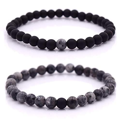 Armband Männer mit Perlen, Herren Armband, Perlenarmband Unisex in verschiedenen Farben (Schwarz - Grau)
