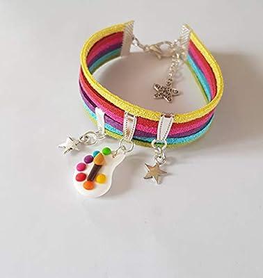cadeau maitresse bracelet multicolore palette de peinture et pinceau cadeau original