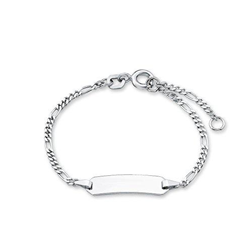 Amor Kinder Mädchen Jungen Unisex-Armband ID Identarmband 925 Sterling Silber 12 + 2 cm inkl. Wunschgravur