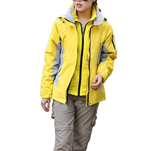 41777VEDVcL. SS500  - Qitun 3 in 1 Women's Outdoor Climbing Waterproof Jacket - Multiple Pockets, Highly Breathable with Waterproof Fabric & Taped Seams, Detachable