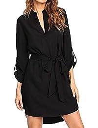 Kenoce Damen V-Ausschnitt Blusenkleid Hemdkleid Wickelkleider Shirtkleid  Langarm 3 4-Ärmel… c5d544ae27