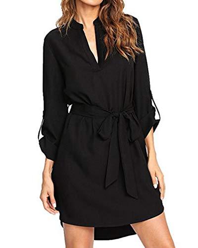 kenoce Sommerkleid Damen Knielang Kleid Baumwolle Damen V-Ausschnitt Strand Freizeitkleid Hemd Kleid Schwarz XL=EU 46