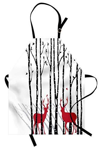WELQUN Schürze Aprons Geweih Schürze Hirsch Baum Wald Mit Roten Blättern Fliegende Blätter Zweig Rentier Frauen Männer Kinder Küchenschürze Zum Kochen Backen