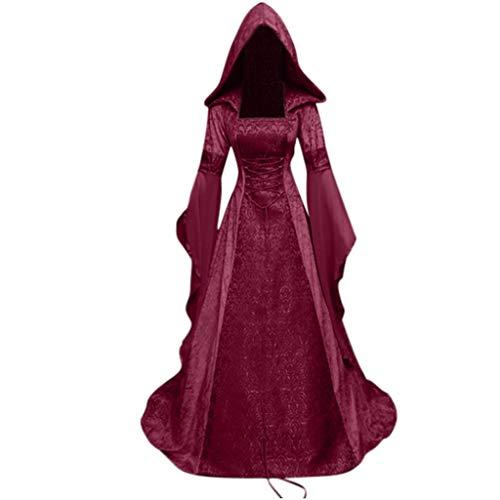 Cuteelf Damen mittelalterlichen Vintage-Stil mit Kapuze Taille Kleid Damenmode Langarm mit Kapuze Gothic Kleid bodenlangen Cosplay Kleid Renaissance Kostüm (Women's Bauern Kostüm)
