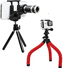 Drumstone Flexible Tripod Mobile Holder with 360 Degrees Rotating and Universal 8X Magnify Zoom Camera Telescope Lens for Moto G5 & One Plus 5 Mobile