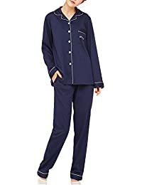 Dolamen Pijamas para mujer, Pijamas Mujer invierno, Mujer camisones, 100% Algodón suave y cálido Manga larga y pantalones largos