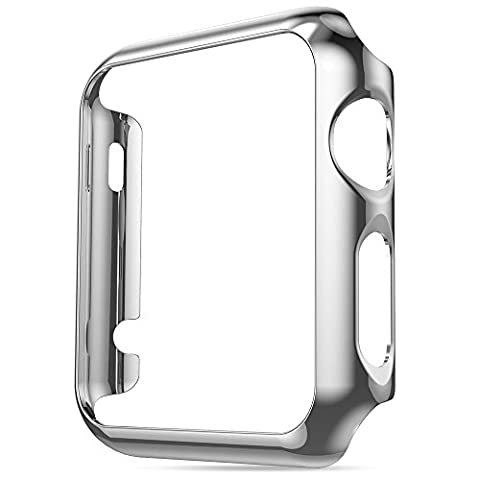 Hoco Watch Case Pinhen Thin Pc Plated Plating Protective Bumper Case Aluminum Protective Shell Bumper for Apple Watch(Case 42MM Silver)