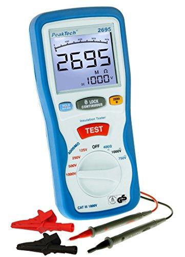 PeakTech Digitales Isolationsmessgerät 4000Mohm - 125V / 250V / 500V /1000V Prüfspannung - mit Multimeter, 1 Stück, P 2695