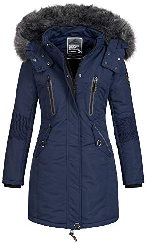 Geographical Norway Damen Jacke Winterparka Coracle/Coraly XL-Fellkapuze Navy XL