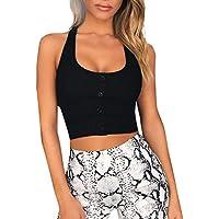 DEELIN Mujer Verano Moda Sexy BotóN Tanque Top Vest Off Hombro Halter Blusa Camiseta Cami Basic Camisola Tank Top