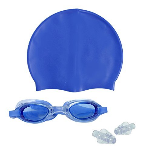 Ruon Deals™ Complete Swimming Kit with Cap, Goggles and Earplugs Perfect Combo For Swimming And Water Sports Activity  available at amazon for Rs.210