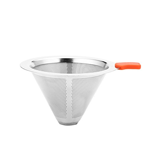 L-BEANS Pour Over Coffee Filter, Stainless Steel Drip Cone Coffee Filter – Paperless,Reusable and Permanet for 1-4 Cups 41779HP3KtL