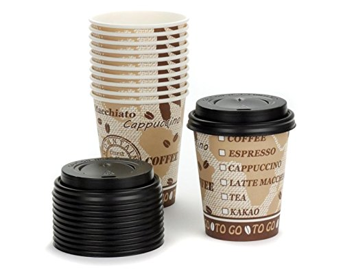 75 x Coffee to go Gobelet en carton avec couvercle, gobelet à café avec aspect 200 ml Volume de remplissage et de belles
