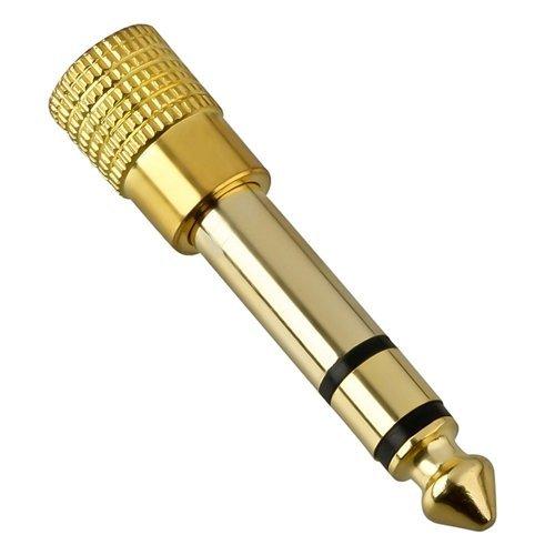 Hochwertiger Adapter 3,5 mm Klinken-Buchse auf 6,35 mm Stecker, Gold