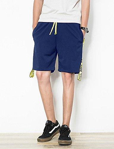 Da uomo A vita medio-alta Attivo Media elasticità Pantaloncini Pantaloni,Taglia piccola Tinta unita Black
