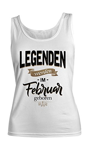 Legenden Werden Im Februar Geboren Geburtstag Geschenk Damen Tank Top Ärmellos Muskelshirt Weiß X-Large (Ärmellos Legende)