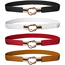 Cinturón Flaco de Mujeres Banda Elástica de Cintura Retro Correa Elástico de Broche de Metal para Vestido (4, Negro Marrón Rojo Blanco)