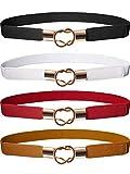 Hestya Frauen Dünne Taille Cinch Gürtel Stretchy Taille Retro Metall Elastische Haken gürtel Für Kleid (4, Schwarz Braun Rot Weiß)
