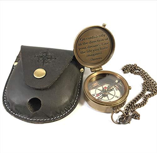 igationskompass Vintage Kompass graviert Kompass Schlüsselanhänger Kompass 5,1 cm Kompass Box Geschenk Wandern Boot antikes nautisches UK Zitat Outdoor Halskette ()