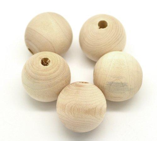 SiAura Material ® - 30 Stück Holzperlen 25mm mit 5mm Loch Rund, Naturfarben zum Basteln und Bemalen