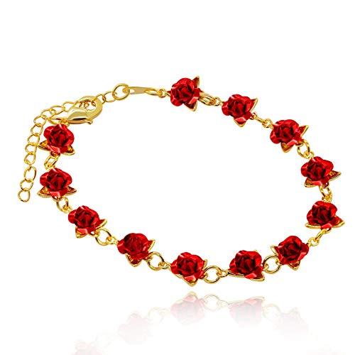 Rose Blume Charme Armband für Frauen Mädchen 18 Karat Vergoldet Natur Schmuck, Hochzeitsgesellschaft Brautjungfer Geschenk (Gelb Gold Farbe) Y452 ()