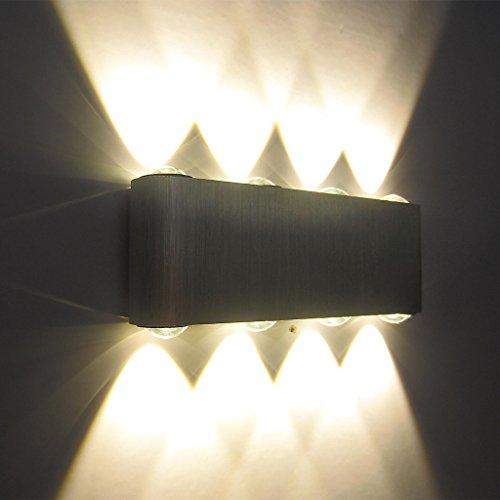 Preisvergleich Produktbild Kaleep LED 8W modern design wand Wandleuchte Wandlampe Wandleuchten Wandlampen Flurlampe Wandbeleuchtung Treppenleuchten Designerlampen innen Aluminum Warmeweiß