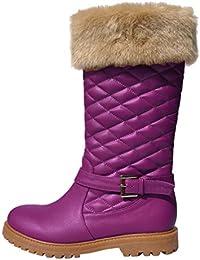 DYF Zapatos de mujer botas cortas de fondo plano con cabeza redonda hebilla cinturón cálido