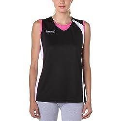 Spalding - Camiseta de baloncesto para mujer, tamaño L, color negro