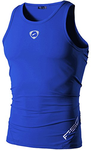 jeansian Herren Sportswear Quick Dry Sleeveless Sport Shirt Tank Tops  LSL3306 LSL3306_OceanBlue