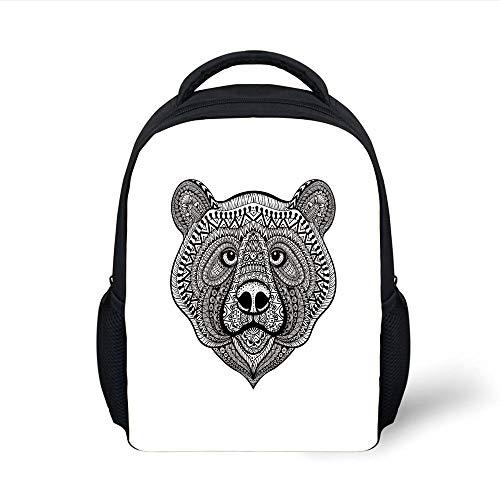 Kids School Backpack Bear,Face of a Wild Animal with Hand Drawn Makhenda Style Patterns Ethnic Bohemian Doodle,Black White Plain Bookbag Travel Daypack Hand-seersucker