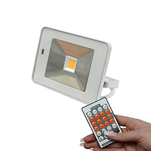 Design LED Fluter Außenstrahler 20W 1500lm IP65 mit HF Sensor Bewegungsmelder und Fernbedienung (3000K warmweiß)