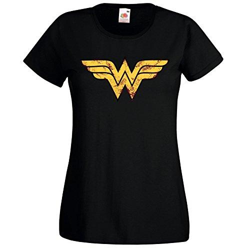 TRVPPY Damen T-Shirt Modell Vintage Wonderwoman Farbe Schwarz Größe M (Krieg T-shirt Emo)