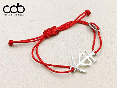 """Bracelet cordon tressé""""Croix de camargue"""" 13x24mm étain finition argent 925"""