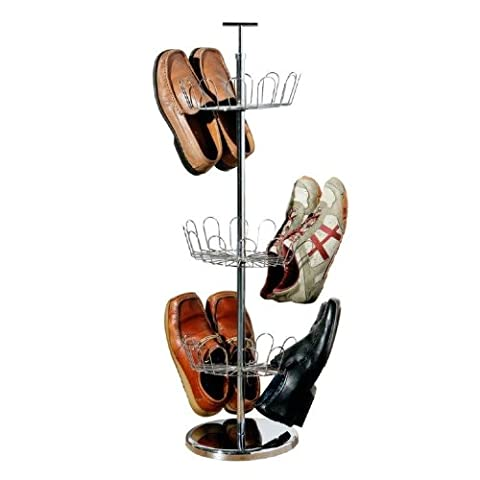 3 Tier Revolving Chrome Shoe Tree Carousel for up to 18 Pairs by Tszuji