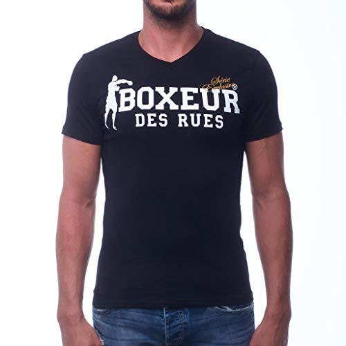 Baumwolle Mit V-ausschnitt-boxer (BOXEUR DES RUES Herren BXE-20011H T-Shirt Mit V-Ausschnitt, Schwarz, XL)