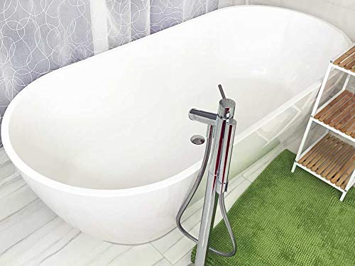 Freistehende Badewanne Mineralguss - oval weiß - inkl. Ablaufventil & Siphon - 180x80 - M