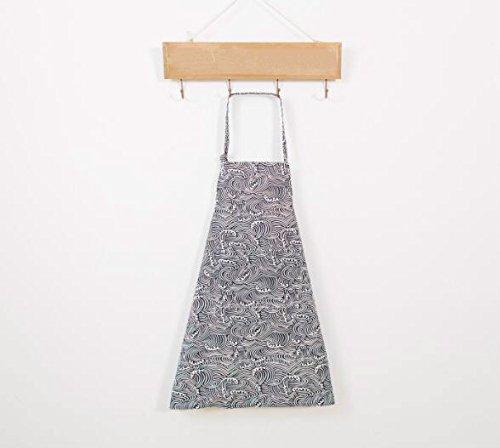 ShireyStore Lindo y Conveniente Moda Impreso Delantal de Lino Colgante Cuello Delantal (Ola)