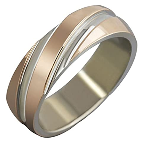 Unisex Rings Stainless Steel Classic Wedding Bands Stripes Rose Golden Finish 6MM Size N 1/2 by Aienid