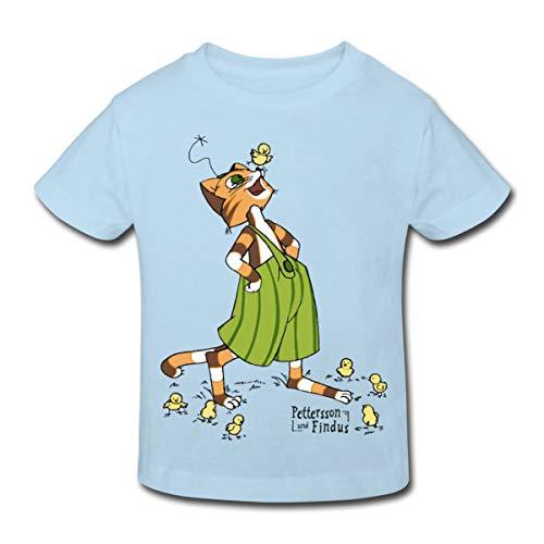 Küken Mädchen T-shirt (Spreadshirt Pettersson Und Findus Spielt Mit Süßen Küken Kinder Bio-T-Shirt, 110/116 (5-6 Jahre), Hellblau)