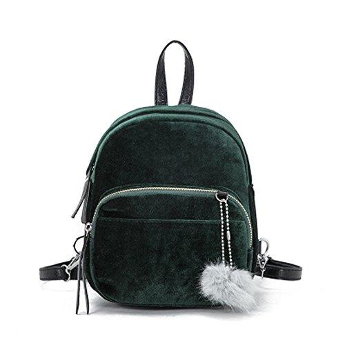 Tohole Damen Samt Mini Rucksack Lässig Schultasche Reise Daypacks Kleine Geldbörse Für Jugendlich Mädchen Tragetaschen(grün,2PC) Surefire Mini