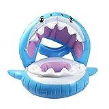 QQLCK 0-3 Anni di età Bambino Gonfiabile Piscina squalo Galleggiante con Parasole Fenicottero Cavalcata-Nuoto Anello Sicuro Sedile Giochi d'Acqua Infantile Cerchio (Color : Blue)