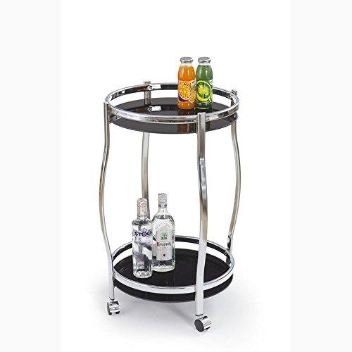 JUSTyou Bar-8 Bartisch Küchenbar Barwagen aus Glas/Stahl Schwarz (DxH): 42x71 cm
